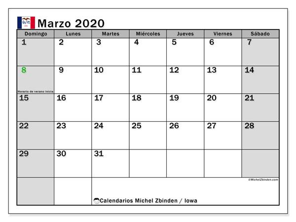 Calendario marzo 2020, con días feriados de Iowa. Calendario vacaciones y festivos para imprimir gratis.