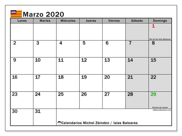 Calendario marzo 2020, con días feriados en las Islas Baleares. Calendario vacaciones y festivos para imprimir gratis.
