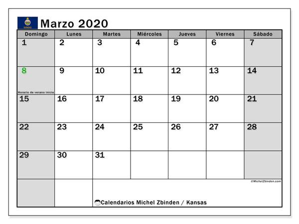 Calendario marzo 2020, con días feriados de Kansas. Calendario para imprimir gratis con días festivos.