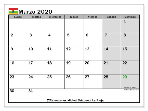 Calendario marzo 2020, con días feriados en La Rioja. Calendario vacaciones y festivos para imprimir gratis.
