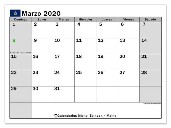 Calendario marzo 2020, con días feriados de Maine. Calendario vacaciones y festivos para imprimir gratis.