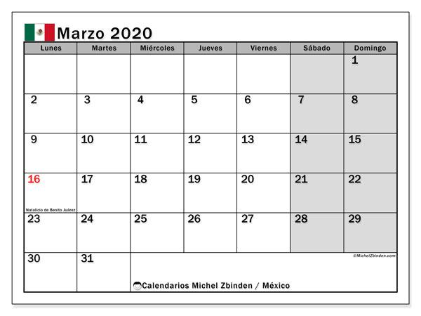 Calendario marzo 2020, con días feriados de México. Calendario vacaciones y festivos para imprimir gratis.