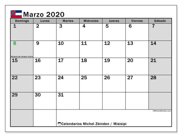 Calendario marzo 2020, con días feriados en Misisipi. Calendario para imprimir gratis con días festivos.