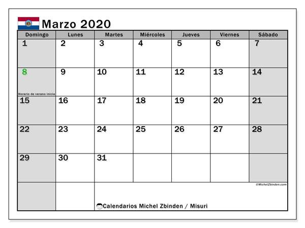 Calendario marzo 2020, con días feriados en Misuri. Calendario vacaciones y festivos para imprimir gratis.