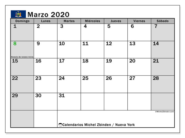 Calendario marzo 2020, con días feriados en Nueva York. Calendario para imprimir gratis con días festivos.