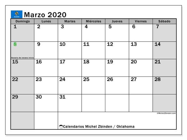 Calendario marzo 2020, con días feriados de Oklahoma. Calendario vacaciones y festivos para imprimir gratis.