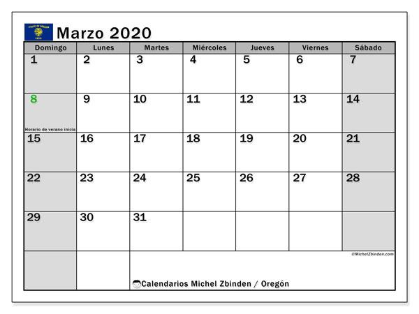 Calendario marzo 2020, con días feriados de Oregón. Calendario vacaciones y festivos para imprimir gratis.