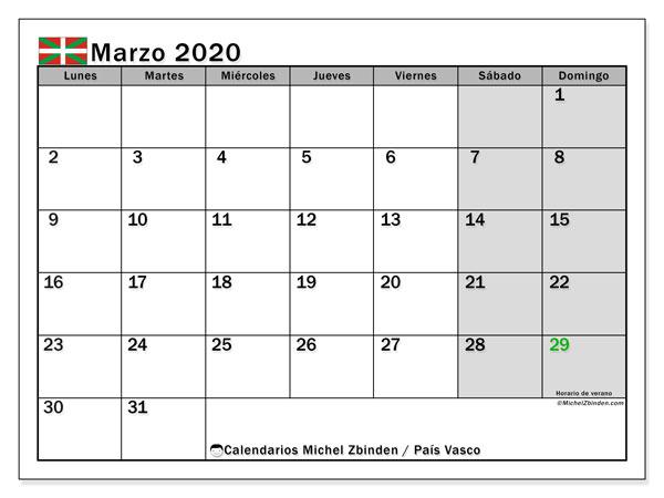 Calendario marzo 2020, con días feriados en el País Vasco. Calendario para imprimir gratis con días festivos.
