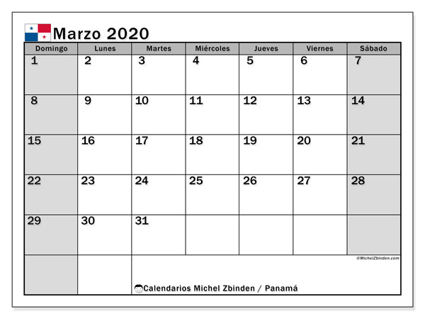 Calendario marzo 2020, con días feriados de Panamá. Calendario vacaciones y festivos para imprimir gratis.