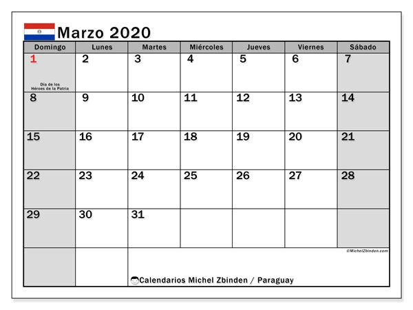 Calendario marzo 2020, con días feriados en Paraguay. Calendario para imprimir gratis con días festivos.
