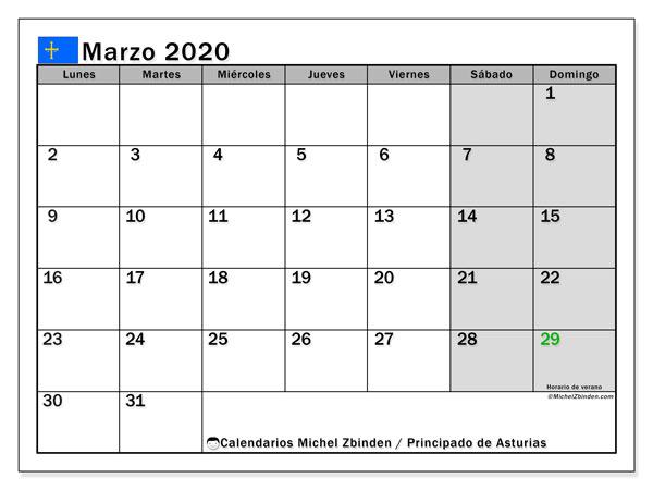 Calendario marzo 2020, con días feriados del Principado de Asturias. Calendario para imprimir gratis con días festivos.