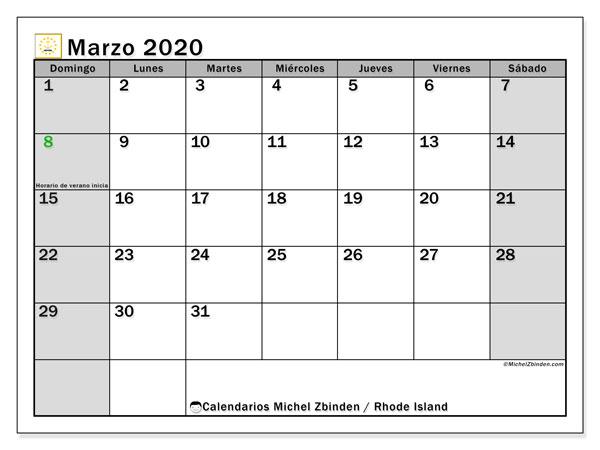 Calendario marzo 2020, con días feriados de Rhode Island. Calendario para imprimir gratis con días festivos.