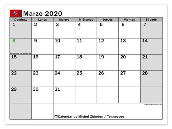 Calendario marzo 2020, con días feriados de Tennessee. Calendario para imprimir gratis con días festivos.