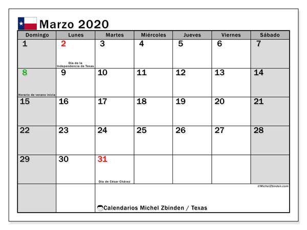 Calendario marzo 2020, con días feriados de Texas. Calendario para imprimir gratis con días festivos.