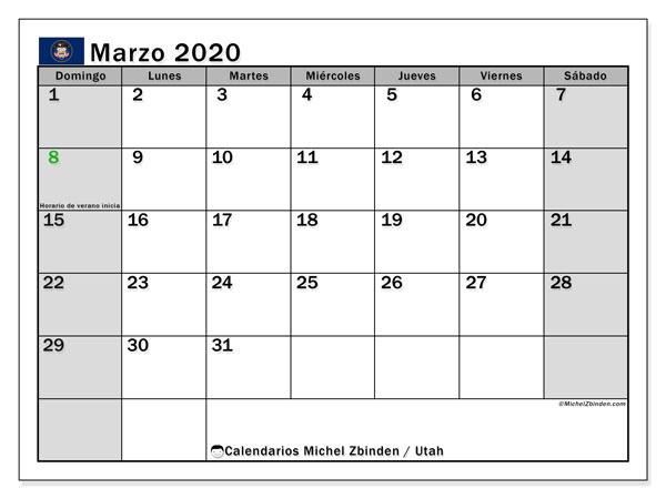 Calendario marzo 2020, con días feriados de Utah. Calendario para imprimir gratis con días festivos.