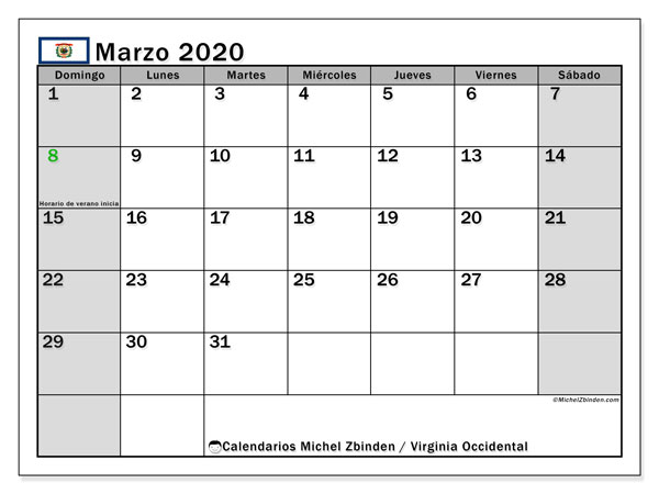 "Calendario ""Virginia Occidental"" para imprimir, con días feriados. Calendario mensual marzo  de 2020 y cronograma imprimibile."