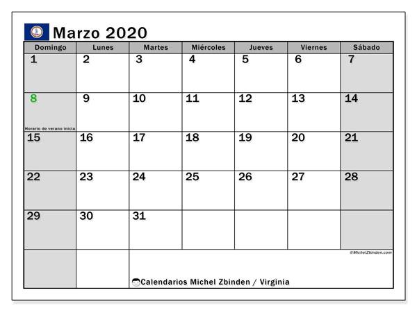 Calendario marzo 2020, con días feriados de Virginia. Calendario para imprimir gratis con días festivos.