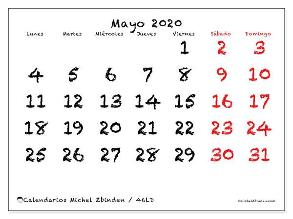 Calendario mayo 2020, 46LD. Calendario para el mes para imprimir gratis.