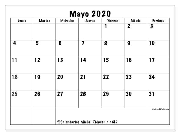Calendario mayo 2020, 48LD. Planificación para imprimir gratis.