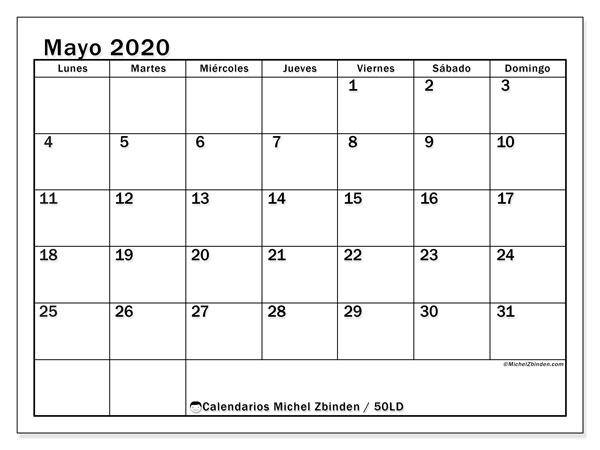 Calendario mayo 2020, 50LD. Calendario para el mes para imprimir gratis.