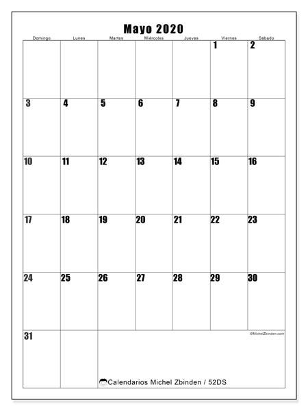 Calendario mayo 2020, 52DS. Calendario para imprimir gratis.