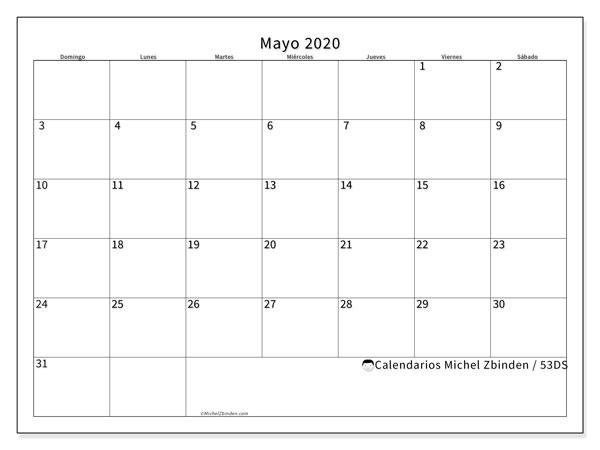 Calendario mayo 2020, 53DS. Calendario mensual para imprimir gratis.