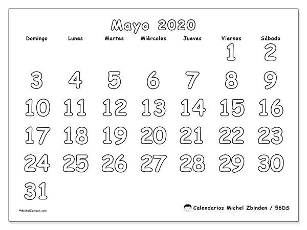 Calendario mayo 2020, 56DS. Planificación para imprimir gratis.