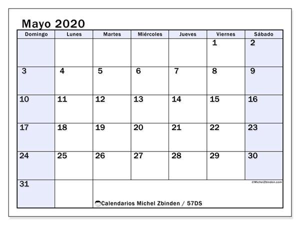 Calendario mayo 2020, 57DS. Planificación para imprimir gratis.