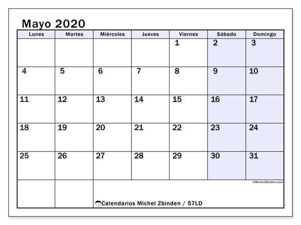 Calendario mayo 2020, 57LD. Almanaque para imprimir gratis.