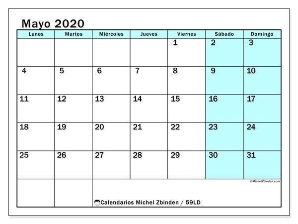 Calendario mayo 2020, 59LD. Calendario para imprimir gratis.