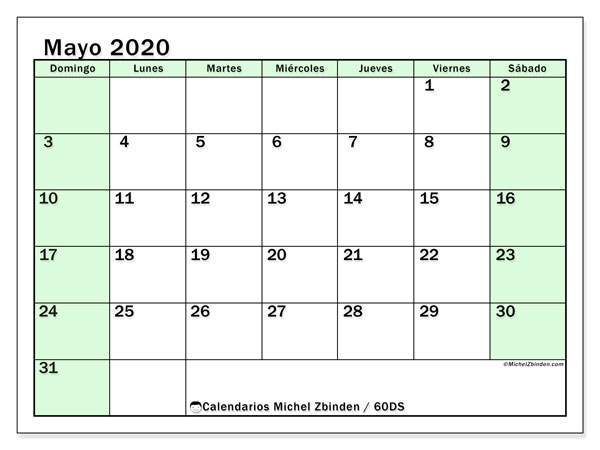 Calendario mayo 2020, 60DS. Calendario imprimible gratis.