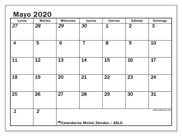 Imprimir Calendario 2020 Por Meses.Calendario Mayo 2020 66ld Michel Zbinden Es
