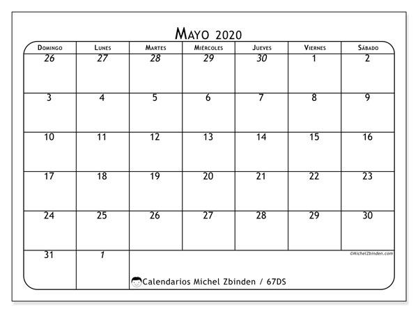 Calendario mayo 2020, 67DS. Calendario imprimible gratis.
