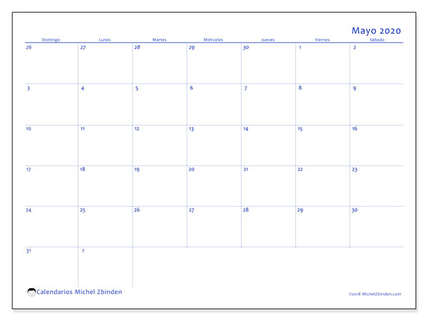 Calendario 73DS, mayo  de 2020, calendario mensual y Array