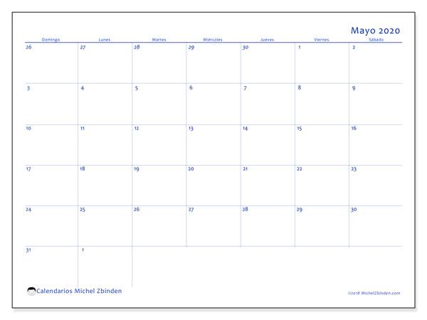 Calendario mayo 2020, 73DS. Calendario imprimible gratis.