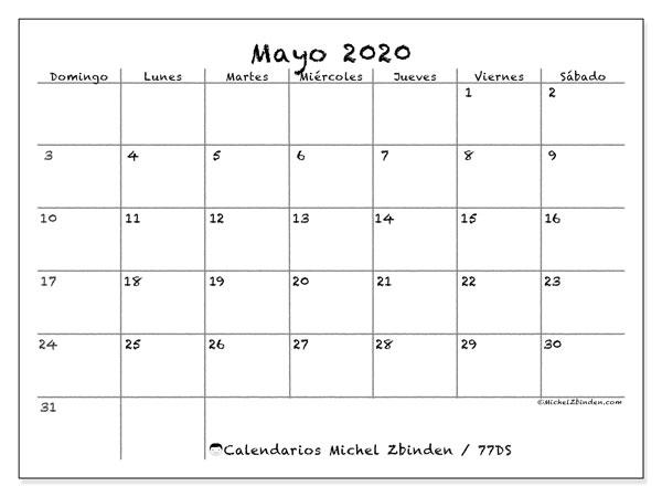 Calendario mayo 2020, 77DS. Planificación para imprimir gratis.