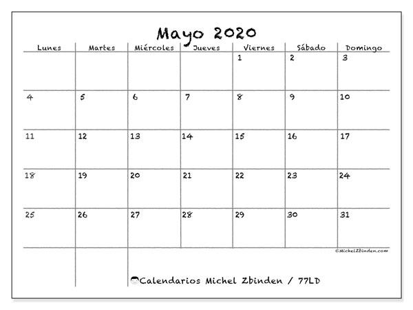 Calendario mayo 2020, 77LD. Calendario gratuito para imprimir.