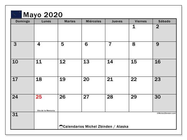 Calendario mayo 2020, con días feriados en Alaska. Calendario vacaciones y festivos para imprimir gratis.