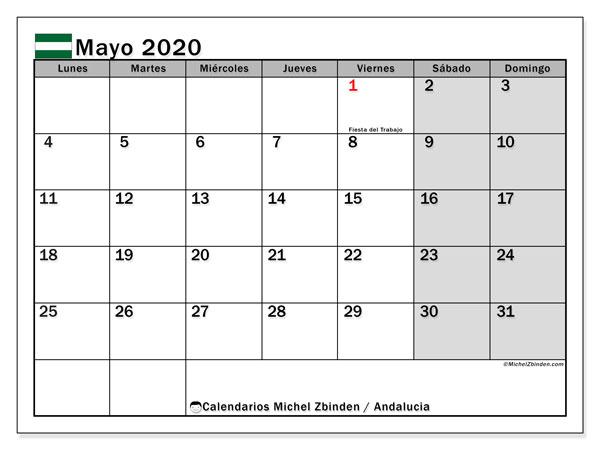 Calendario mayo 2020, con días feriados en Andalucía. Calendario vacaciones y festivos para imprimir gratis.