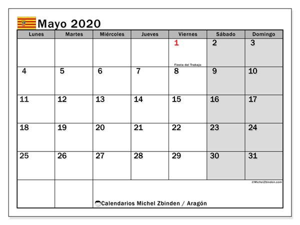 Calendario mayo 2020, con días feriados de Aragón. Calendario para imprimir gratis con días festivos.