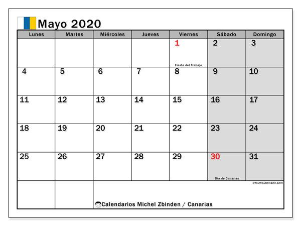Calendario mayo 2020, con días feriados en las Islas Canarias. Calendario para imprimir gratis con días festivos.
