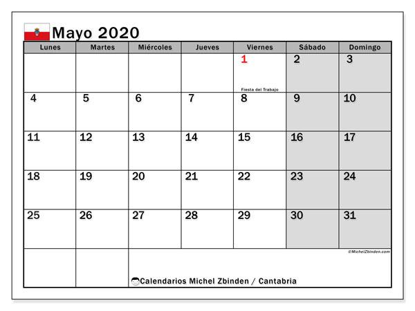 Calendario mayo 2020, con días feriados en Cantabria. Calendario vacaciones y festivos para imprimir gratis.