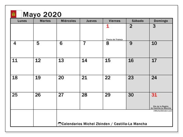 Calendario mayo 2020, con días feriados en Castilla-La Mancha. Calendario vacaciones y festivos para imprimir gratis.