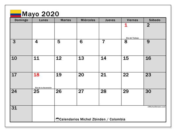 Calendario mayo 2020, con días feriados de Colombia. Calendario para imprimir gratis con días festivos.
