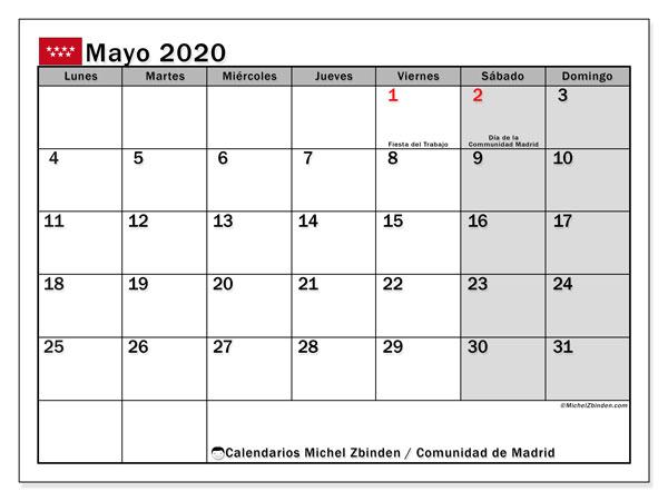 Calendario mayo 2020, con días feriados de la Comunidad de Madrid. Calendario vacaciones y festivos para imprimir gratis.