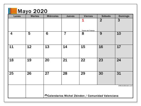 Calendario mayo 2020, con días feriados de la Comunidad Valenciana. Calendario vacaciones y festivos para imprimir gratis.