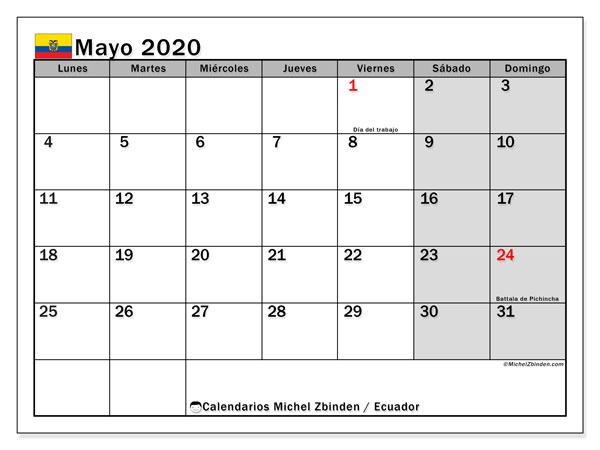 Calendario mayo 2020, con días feriados en Ecuador. Calendario para imprimir gratis con días festivos.