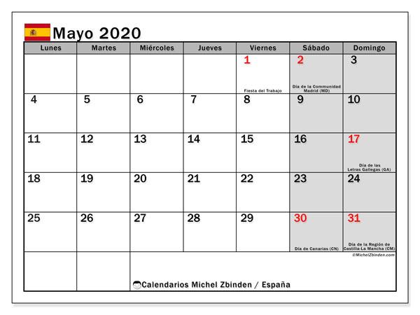 Calendario mayo 2020, con días feriados en España. Calendario vacaciones y festivos para imprimir gratis.
