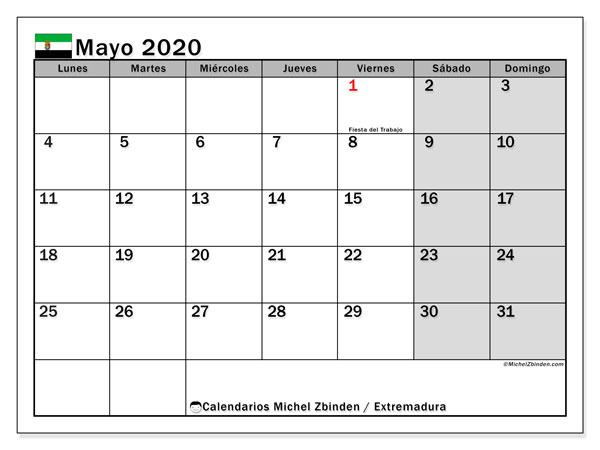 Calendario mayo 2020, con días feriados en Extremadura. Calendario para imprimir gratis con días festivos.