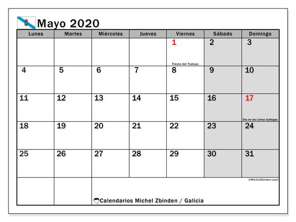 Calendario mayo 2020, con días feriados en Galicia. Calendario vacaciones y festivos para imprimir gratis.